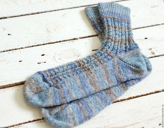 Носки, Чулки ручной работы. Ярмарка Мастеров - ручная работа. Купить Мужские носки tabby. Handmade. Синий, Носки шерстяные