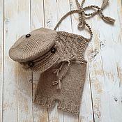 Одежда ручной работы. Ярмарка Мастеров - ручная работа Слип и кепка для фотосессии новорожденного бежевый. Handmade.