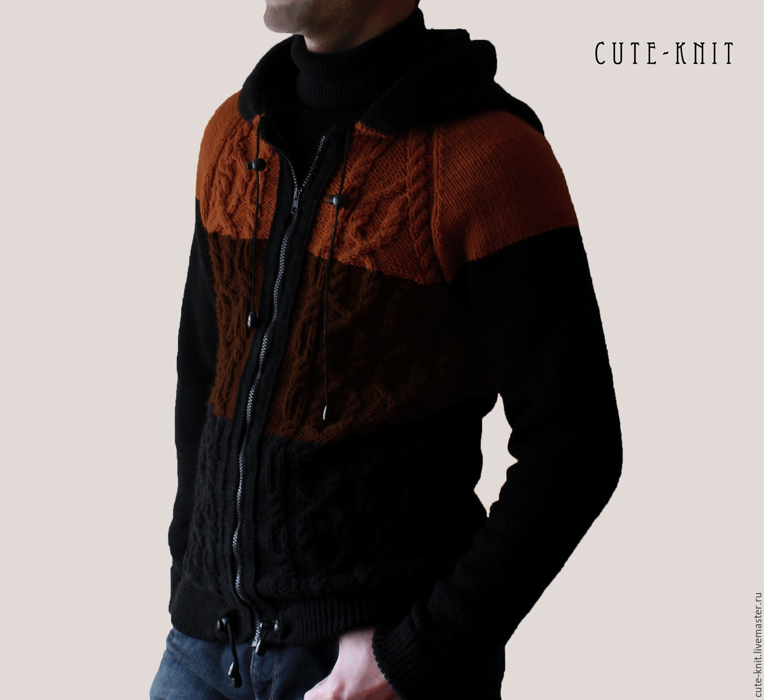 To better visualize the model, click on the photo. CUTE-KNIT NAT Onipchenko Fair Masters to Buy men's knitted jacket with hood and zipper