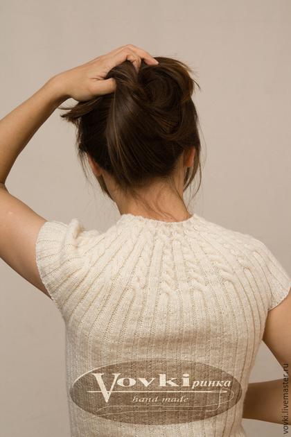 Жилеты ручной работы. Ярмарка Мастеров - ручная работа. Купить Бесшовный джемпер с короткими рукавами спицами. Handmade. Белый, безрукавка