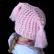 Аксессуары handmade. Livemaster - original item Hat, pink knit wool children`s for girls. Handmade.