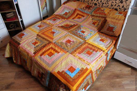 Текстиль, ковры ручной работы. Ярмарка Мастеров - ручная работа. Купить Печворк покрывало Солнце № 447. Handmade. Оранжевый