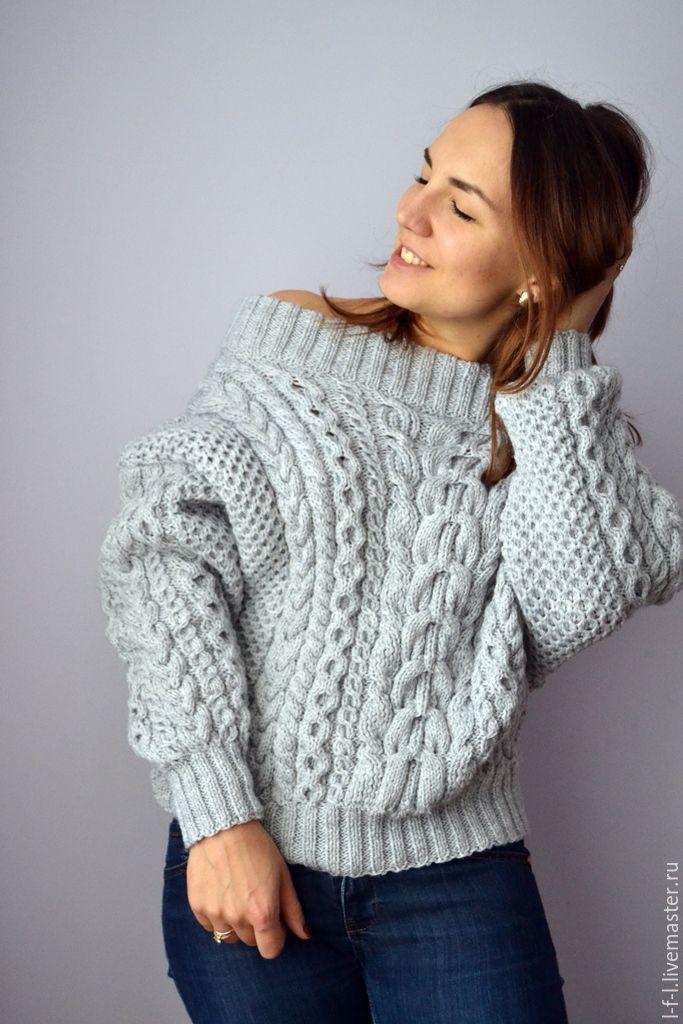 Вязаный свитер с косами в стиле Рубан серого цвета ...