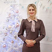 Одежда ручной работы. Ярмарка Мастеров - ручная работа Платье Леди  какао с розовой пудрой. Handmade.