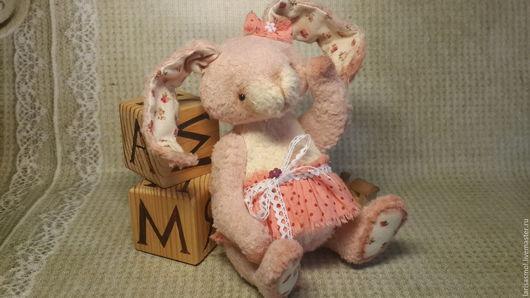 Мишки Тедди ручной работы. Ярмарка Мастеров - ручная работа. Купить Заюшка 14см. Handmade. Бледно-розовый, опилки древесные