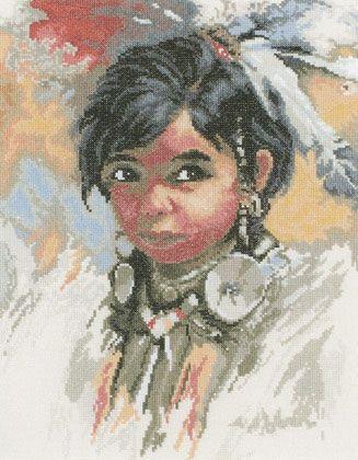 Люди, ручной работы. Ярмарка Мастеров - ручная работа. Купить Индейская девочка.. Handmade. Ткань, мулине