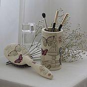 Для дома и интерьера ручной работы. Ярмарка Мастеров - ручная работа Расческа и подставка для косметики. Handmade.