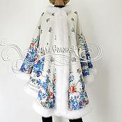 """Одежда ручной работы. Ярмарка Мастеров - ручная работа Пальто-пончо  """"Гжель"""" из павловопосадских платков. Handmade."""