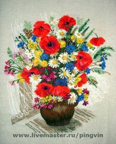 Картины цветов ручной работы. Ярмарка Мастеров - ручная работа. Купить Летние букеты. Handmade.