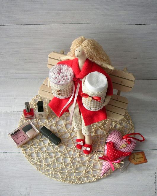 Куклы Тильды ручной работы. Ярмарка Мастеров - ручная работа. Купить Хранительница ватных палочек и дисков в красном. Handmade. ангел