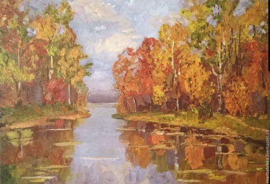 Пейзаж ручной работы. Ярмарка Мастеров - ручная работа. Купить Осень золотая. Handmade. Комбинированный, картина для интерьера, выполнена с любовью