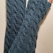 Аксессуары handmade. Livemaster - original item Mitts braids 12, color smoky jeans. Handmade.