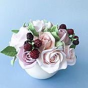 Цветы и флористика handmade. Livemaster - original item Interior bouquet with cream roses and blackberries. polymer clay.. Handmade.