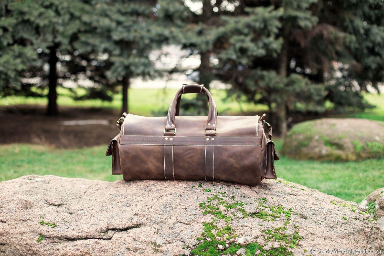 80d353c45dec Мужские сумки ручной работы. Большая кожаная сумка БИЗОН. Дорожная сумка из  коричневой кожи.