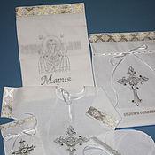 """Комплект для крещения ручной работы. Ярмарка Мастеров - ручная работа Комплект для крещения """"Знамение""""(серебро). Handmade."""