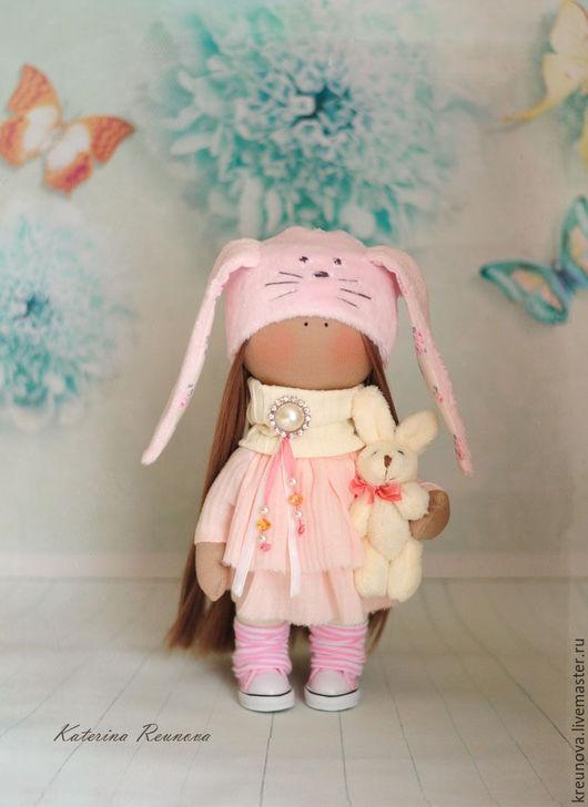 Коллекционные куклы ручной работы. Ярмарка Мастеров - ручная работа. Купить Зая. Handmade. Бледно-розовый, девочка, подарок, трикотаж