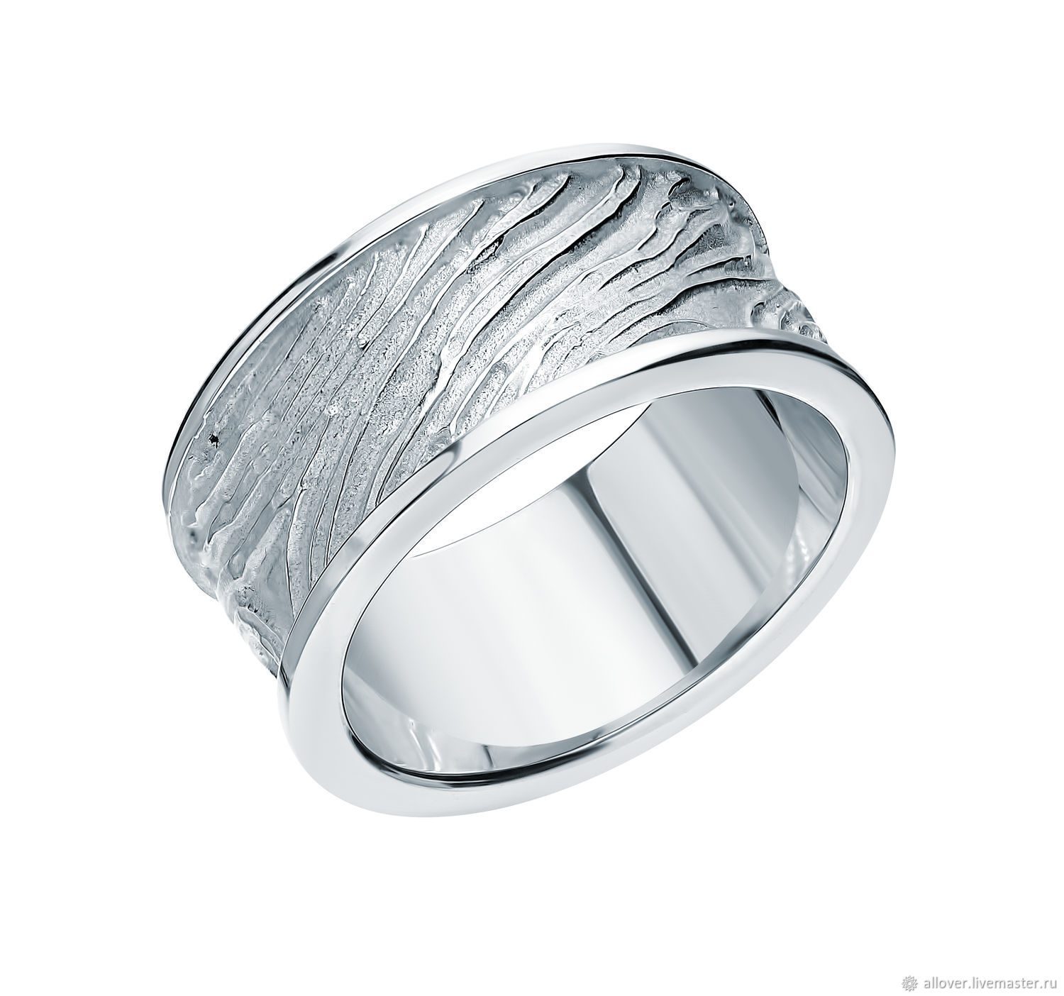 Silver textured ring 'Storm' 925 silver, Rings, Moscow,  Фото №1