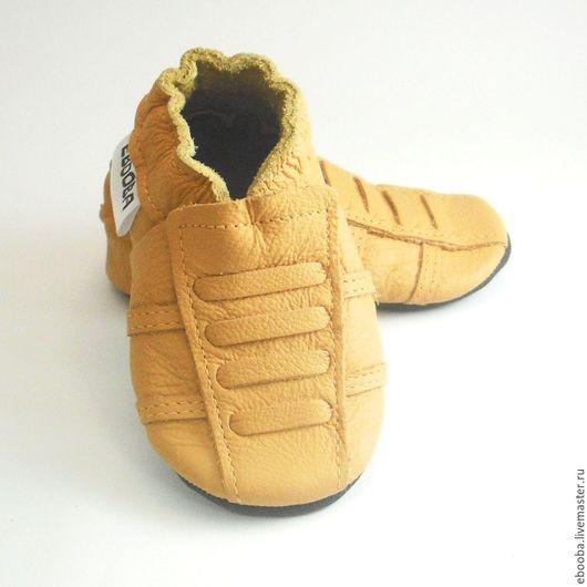Кожаные чешки тапочки пинетки кроссовки жёлтые ebooba