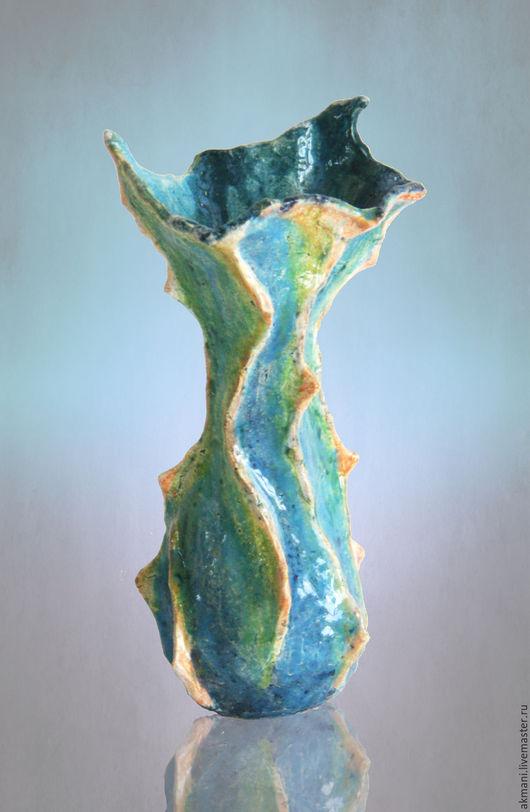 """Вазы ручной работы. Ярмарка Мастеров - ручная работа. Купить Ваза """"Песнь моря"""". Handmade. Голубой, керамика ручной работы"""