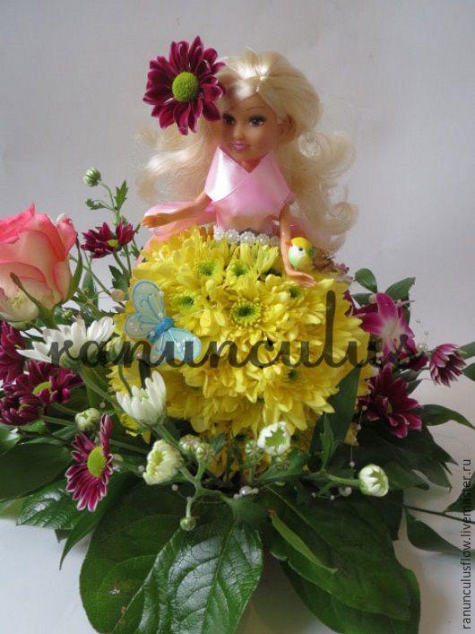 Букеты ручной работы. Ярмарка Мастеров - ручная работа. Купить Кукла из цветов. Handmade. Кукла, игрушки из цветов, желтый