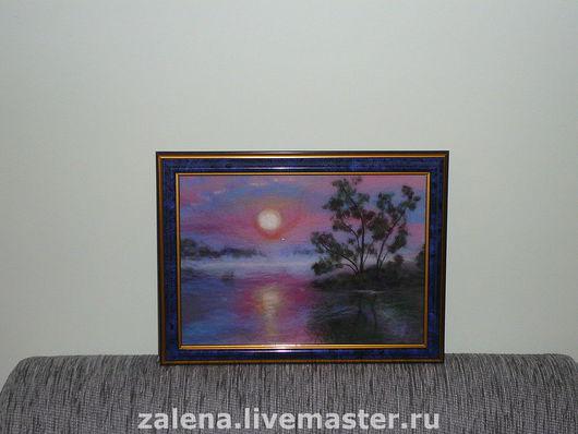 """Пейзаж ручной работы. Ярмарка Мастеров - ручная работа. Купить картина """"Вечер"""". Handmade. Картина, шерстяная акварель, картина из шерсти"""