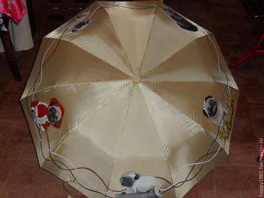 """Зонты ручной работы. Ярмарка Мастеров - ручная работа. Купить Зонт ручной росписи """"Мопсы"""". Handmade. Бежевый, собаки"""