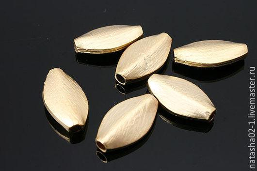 Для украшений ручной работы. Ярмарка Мастеров - ручная работа. Купить Бусина ОВАЛЬНАЯ Matt Gold plated Южная Корея. Handmade.