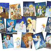 Открытки handmade. Livemaster - original item Cards Angels birthday Christmas Set of 16 PCs. Handmade.