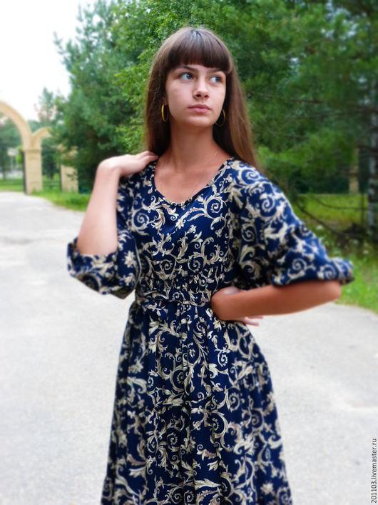 """Платья ручной работы. Ярмарка Мастеров - ручная работа. Купить ПЛАТЬЕ """"ЦАРЕВНА"""". Handmade. Тёмно-синий, платье длинное в пол"""