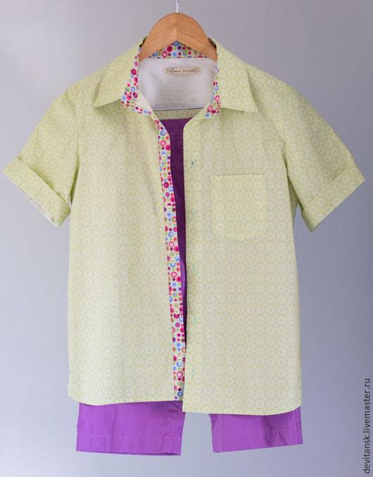 Одежда для мальчиков, ручной работы. Ярмарка Мастеров - ручная работа. Купить Рубашка и шорты для мальчика. Handmade. Зеленый, для мальчика, пуговицы