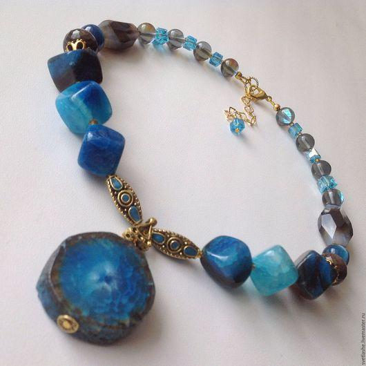Колье бусы ожерелье с подвеской срез Агата синий купить в подарок девушке женщине любимой подруге украшение на шею из натуральных камней