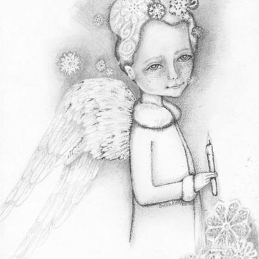 Картины и панно ручной работы. Ярмарка Мастеров - ручная работа Картины: Ангел со свечёй. Handmade.