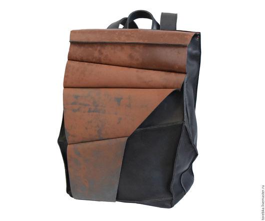 """Рюкзаки ручной работы. Ярмарка Мастеров - ручная работа. Купить Рюкзак-""""ржавчина"""". Handmade. Рюкзак, индастриал, угол, черный"""
