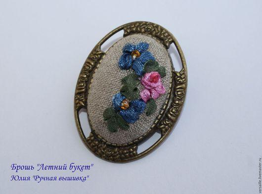брошь, броши цветы, брошь, брошь с вышивкой, вышитые цветы, синие цветы, серый брошь, ювелирные изделия, вышитые украшения с цветами