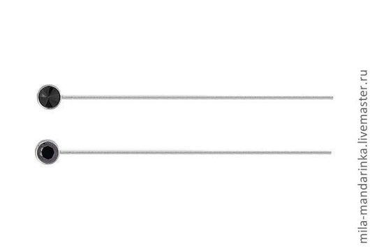 Для украшений ручной работы. Ярмарка Мастеров - ручная работа. Купить Пин серебрянный с камнем. Handmade. Серебряный, гранат, черный