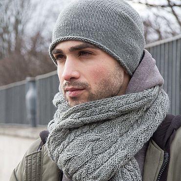 Аксессуары ручной работы. Ярмарка Мастеров - ручная работа Комплект шапка шарф   ШЕРИ/ШЕЛДОН серый меланж, шапка мужская вязаная. Handmade.