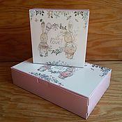 Материалы для творчества ручной работы. Ярмарка Мастеров - ручная работа Коробочка с двумя зайчиками (2 размера). Handmade.