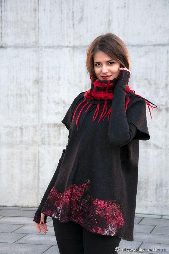 Felted sweatshirt in a boxy cut Juicy pomegranate, Cardigans, Tallinn,  Фото №1