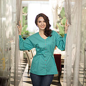Одежда handmade. Livemaster - original item Blouse - shifter turquoise. Handmade.