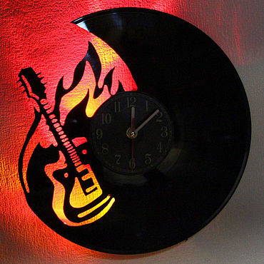 For home and interior handmade. Livemaster - original item Wall clock with led light from the album Rock. Handmade.