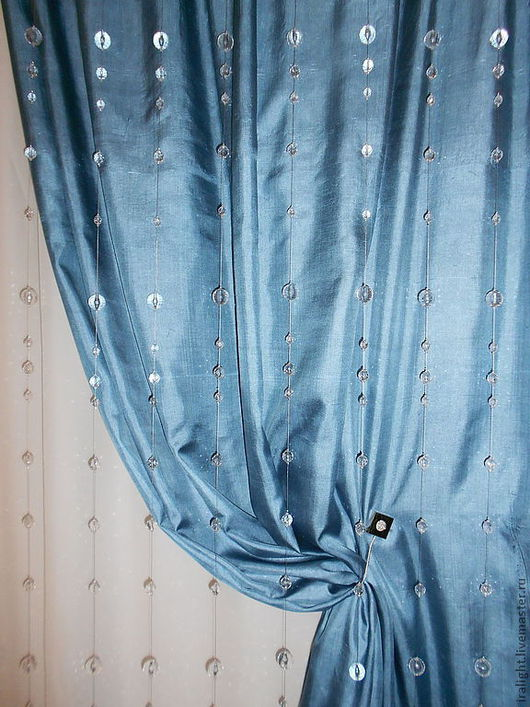 Текстиль, ковры ручной работы. Ярмарка Мастеров - ручная работа. Купить Шторы из стеклянных бусин. Handmade. Серебряный, индивидуальный дизайн