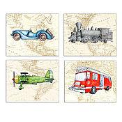 Картины и панно handmade. Livemaster - original item Fire truck Train Plane on the world map decor children`s Set 4 pieces. Handmade.