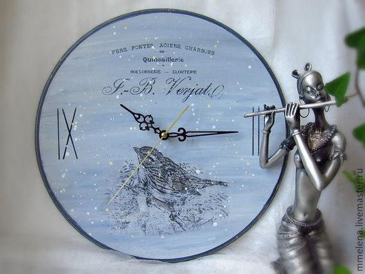 """Часы для дома ручной работы. Ярмарка Мастеров - ручная работа. Купить Часы """"Воробей"""". Handmade. Голубой, часы интерьерные, винтаж"""