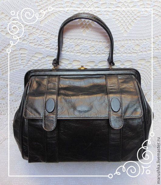 Винтажные сумки и кошельки. Ярмарка Мастеров - ручная работа. Купить ПРОДАНО! Винтажная  женская сумка-ридикюль, Дания. Handmade. Черный