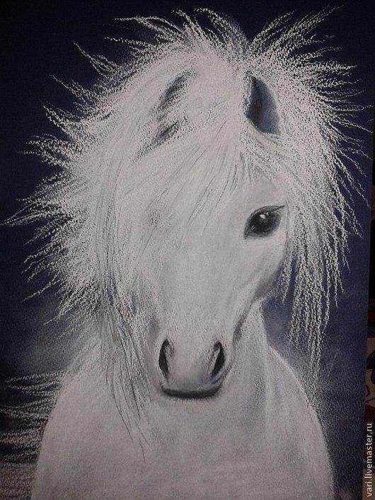 Животные ручной работы. Ярмарка Мастеров - ручная работа. Купить Белая скакунья. Handmade. Лошадь, пастель, картина для интерьера