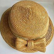 handmade. Livemaster - original item Straw hat with bow vintage USSR. Handmade.