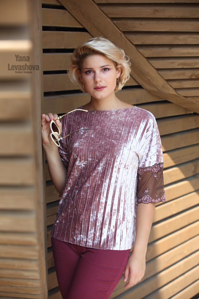 Velvet blouse with lace pink purple powder pleats, Blouses, Moscow,  Фото №1