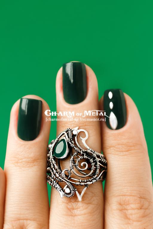 """Кольца ручной работы. Ярмарка Мастеров - ручная работа. Купить """"Legolas"""" Серебряное кольцо. Handmade. Украшение, wire, стильный, зелень"""