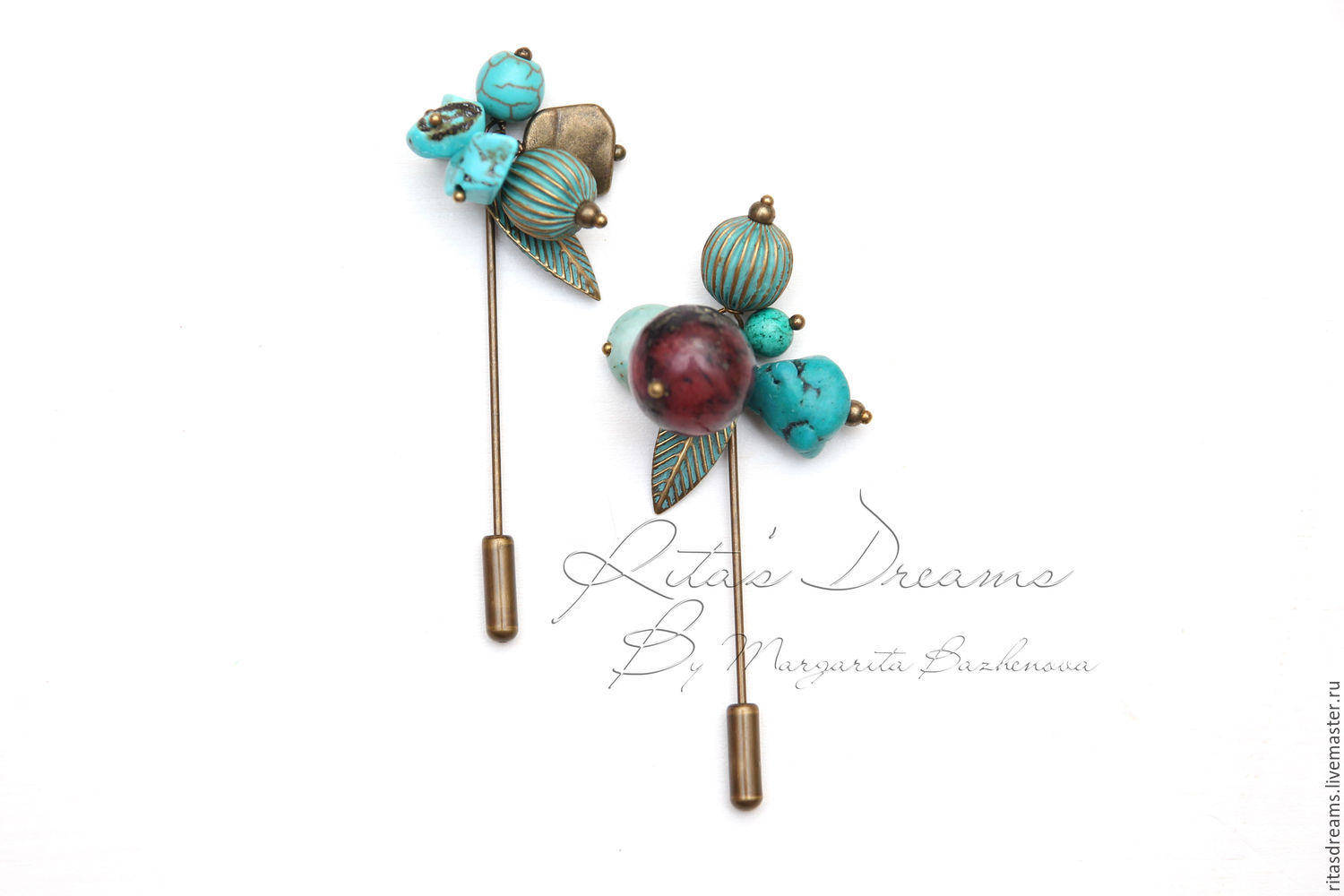 Small brooch-pin in turquoise and berry-turquoise tones - the perfect complement to the scarf, snub, stole, coat, knitted cardigan sweater or any other knitted things.