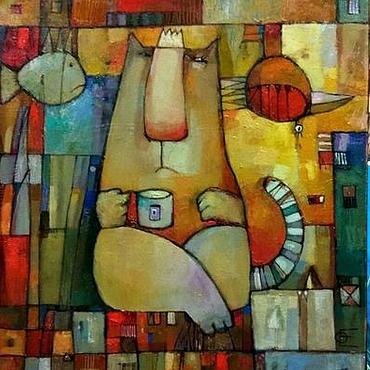 Картины и панно ручной работы. Ярмарка Мастеров - ручная работа Котейник- яркая картина маслом с котом или даже котищей. Handmade.